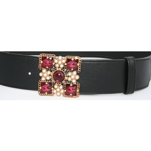 Cintura nappa nera fibbia gioiello bordeaux
