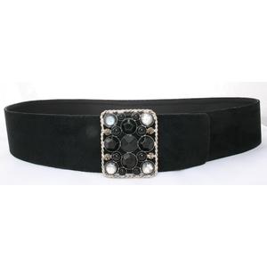 cintura in camoscio nero  fibbia gioiello argentata grigia nera