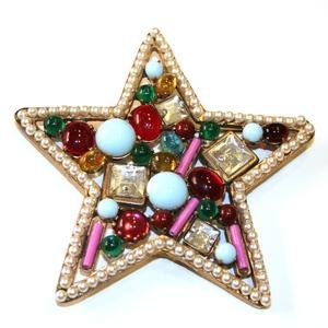 spilla stella dorata pietre strass colorati perle