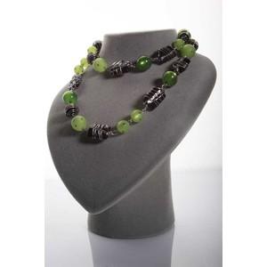 collana lunga  art deco  resina verde acido barrette  vetro nero