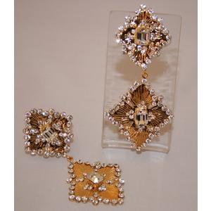 orecchino pendente dorato strass cristallo