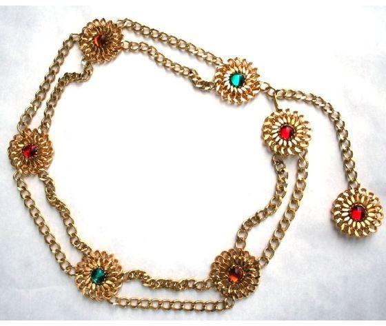 cintura catena dorata fiori pietra colorata rossa verde