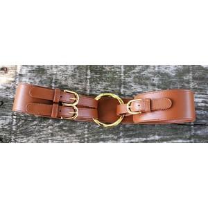 cintura nappa colore cuoio anella dorata allacciata cinturini laterale