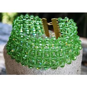 Collana collarino in perle sfaccettate Swarovski verde