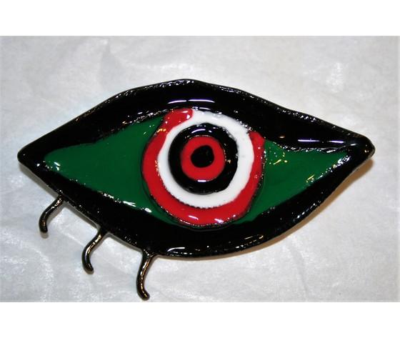 """Spilla """"Mirò"""" occhio metallo brunito con smalti colorati"""