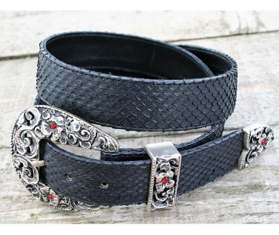Cintura pitone nero fibbia puntale passante country