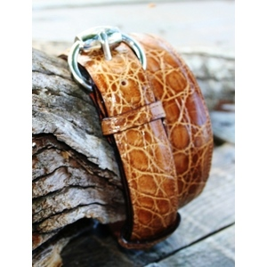 Cintura donna sagomata coccodrillo color miele