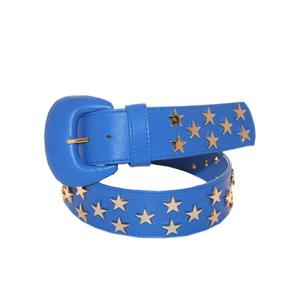 Cintura donna nappa bluette rivetti stella dorati due giri