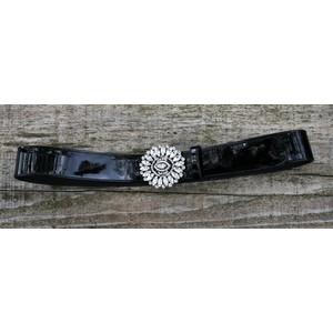 Cintura donna in vernice nera fibbia gioiello cristallo Bologna