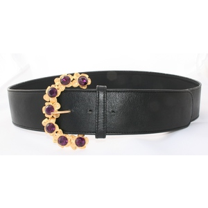 cintura nappa nera fibbia gioiello strass viola