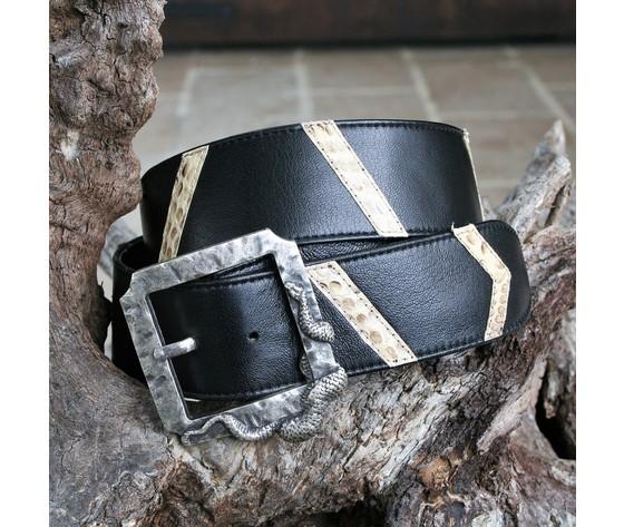 Cintura donna nappa nera con intarsi pitone colore roccia