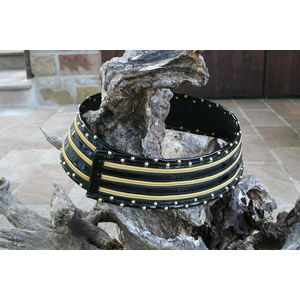 Cintura donna in vernice nera alta con borchie e cerniere lampo dorate