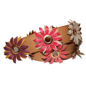 Cintura donna pelle colorata fiori multicolori occhielli dorati