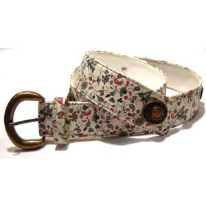Cintura donna sagomata vera pelle bianca stampa floreale rivetti ottone vecchio