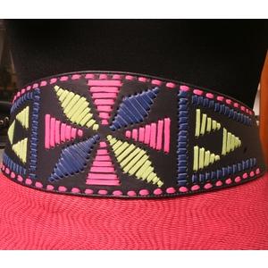 Cintura bustino pelle blu decoro cavalletto multicolore
