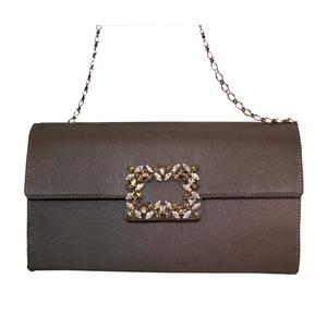 Pochette raso grigio fibbia gioiello black diamond