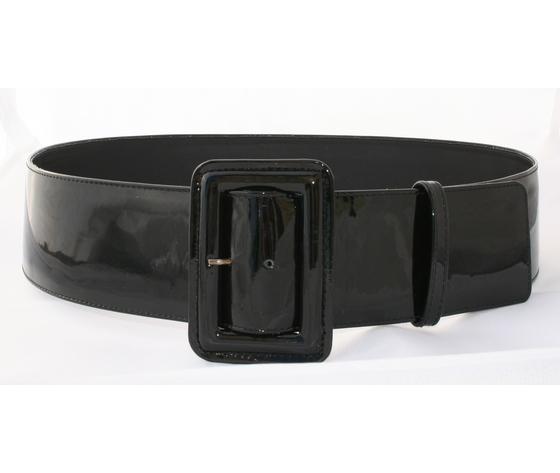 cintura donna vernice nera fibbia ricoperta
