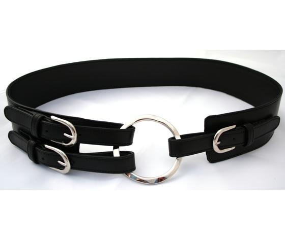 cintura nappa nera anella argentata allacciata cinturini