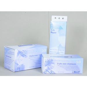 MASCHERINE 3 strati con elastici in TNT BFE 99,9% CF DA 50 PZ
